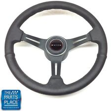 "1969-72 Buick Black Leather & Black Anodized Steering Wheel ""BUICK"" Center Cap"