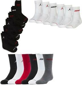 6 Pair Boys Little Kids & Toddler Nike Jordan Crew Socks White Black Red