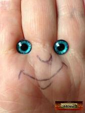 M01548x5 Morezmore 5 Pairs Glass Eyes Iris 8mm Tiffany Blue Flat Back Puppet