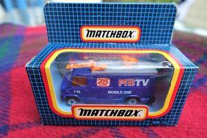 """MATCHBOX MB73 purple TV News Truck """"MBTV - 75 News"""" (MIB) 1987 Macau"""