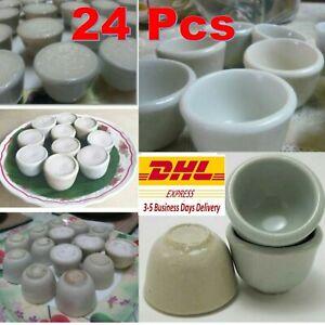 24x Mini Bowl Cup Ceramic Thai Dessert Mold Steam Coconut Milk Cake Food Access