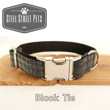Designer Black Tie Dog Puppy Pet Collar with Leash Option All Breeds Sizes