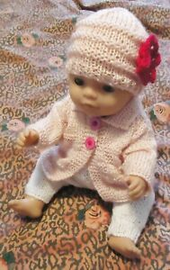 light Pink Cardigan/Top Trousers w Beanie Baby Born Knitted Clothes Doll 38-42cm