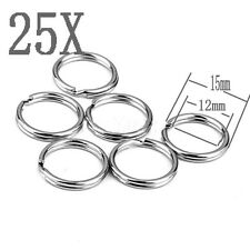 15mm Outer Dia Shiny Metal Double Loop Split Ring Key Holder Keyring 25pcs