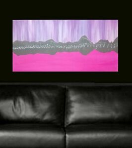 Pink Silver Cityscape Hand Painted Modern Abstract Canvas Painting Original Art