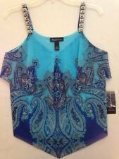 INC International Concepts Radial Paisley Printed Tiered Tank Top Sz PM