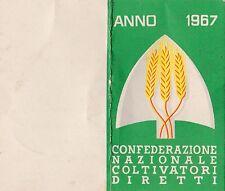 TESSERA 1967 CONFEDERAZIONE NAZIONALE COLTIVATORI DIRETTI SAVONA ERLI 8-29