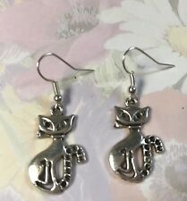 CAT DROP EARRINGS TIBETAN SILVER  Silver plated hooks in Gift Bag
