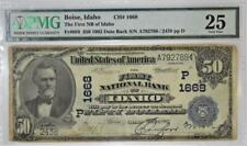1902 Boise, ID $50 Date Back National Currency; TFNB of Idaho; CH# 1668; PMG-25;