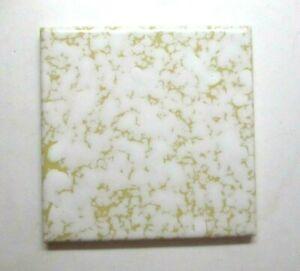 "CGSC USA US Ceramic Mustard Yellow Dapple Beige 4-1/4"" Wrinkled 1 Wall Tile Vtg"