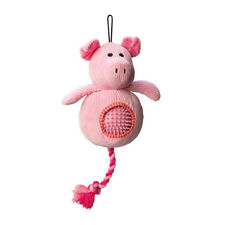 House of Paws Cord Pig Dog Toy Spiky Ball   Squeaky Plush Soft Rubber Rope 2in1