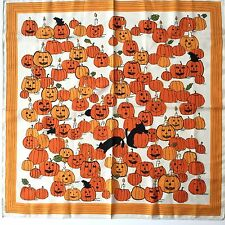Halloween Mod Black Cats Pumpkin Patch Jack O Lantern 20 Inch Square Vtg Graphic
