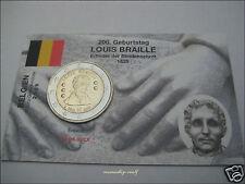 "2 Euro Gedenkmünze Belgien Belgium 2009 ""Louis Braille"" in Infokarte/Coincard"