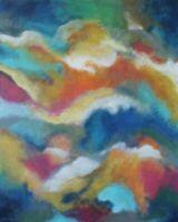 Firey Clouds 24 x 30 x 7/8 ORIGINAL CANVAS PAINTING ABSTRACT Karla Gerard