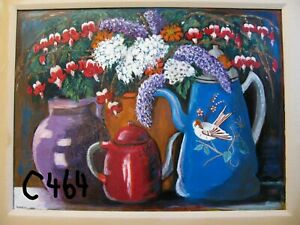 """C464  NEW -  Original Acrylic Painting by LJH   """"FLORAL STILL LIFE"""""""