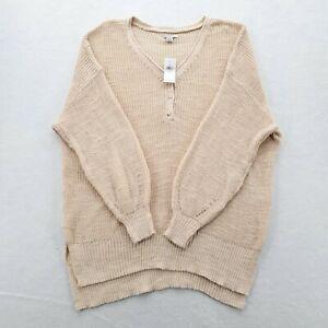 American Eagle Womens Sweater Dreamspun Oversized Knit Medium Beige V Neck
