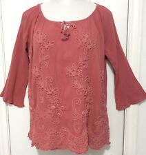 SOFT SURROUNDINGS WINDING VINES TUNIC MEDIUM EMBROIDERED SHIRT TOP BLOUSE
