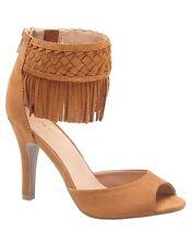 Lane Bryant Cognac Sandals ~ Faux Suede ~ Fringe Heel ~ Size 10W