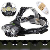 Bright 90000LM 5X XM-L T6 LED Headlamp Rechargeable Headlight Flashlight Torch