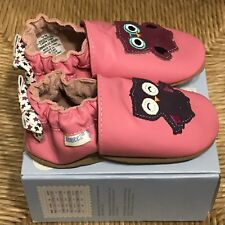 ROBEEZ Olivia Pink Purple Owl Leather Suede Crib Shoe 18-24 Months NEW