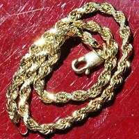 "10k yellow gold bracelet 7.0"" diamond cut solid rope chain handmade 1.65g"