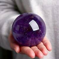 Natural Amethyst Quartz Sphere Pretty Crystal Ball Healing Xmas Purple Stone
