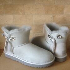 UGG Josey Swarovski Crystal Bling Pin Grey Violet Suede Boots Size 10 Womens