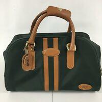 "Vintage Lark Overnight Train Duffle Bag Green Carry On 17.5"" x 9"" x 12"" 3a"