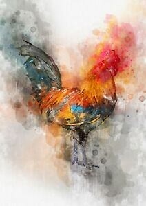 Walking rooster / Chicken, Orange and blue feathers, Artwork print farm wall art