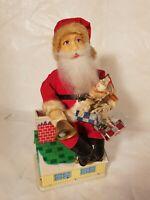 Tin toy 1950's battery operated SANTA ON A CHEMINEE MONEY BANK Ichicko Japan ...