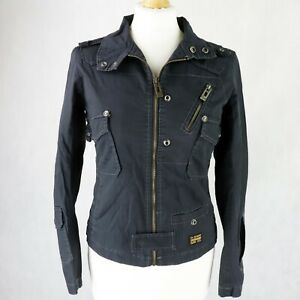Womens G-STAR Twill Biker Jacket Size XS UK 6-8 zip-up Lightweight Grey denim