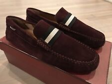 550$ Bally Pearce Merlot Suede Driver Size US 10.5 Made in Italy