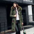 Womens Ladies Long Winter Coat Padded Quilted Puffa Jacket Fur Hooded Plus Size