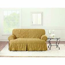 Sure Fit Matelasse Damask T-Cushion Love Seat Cover GOLD