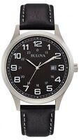 BULOVA Dress Watch  96B276 Black Dial Black Leather Band Watch New W box