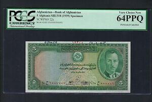 Afghanistan 5 Afghanis SH1318(1939) P22s Specimen Uncirculated Grade 64