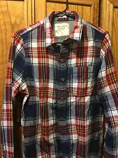 Abercrombie & Fitch Mens Flannel Size Medium Red White Blue