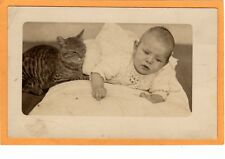 Real Photo Postcard Rppc - Infant and Tabby Cat