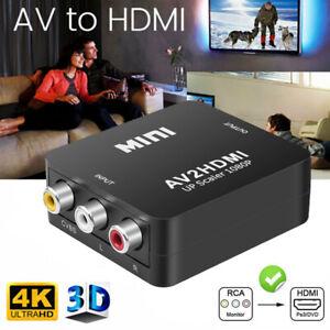 Mini AV zu HDMI Adapter Konverter HD 1080P 4K Video Audio TV 3 RCA CVBS auf HDMI