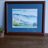 Watercolor mountain landscape painting framed matted Morning Fog by Gabriel Mary