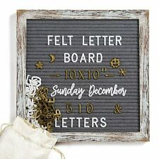 Felt Message Letter Board Sign Changeable Rustic Wood Frame 10x10 Inches White