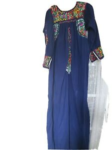 Vintage Mexican Dress, blue, small to medium, Oaxaca wedding style, very long