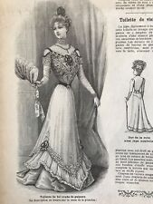French MODE ILLUSTREE SEWING PATTERN Oct 15,1899 BALL GOWNS,EMBROIDERED DRESS