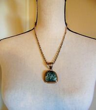 """Sterling, Incls. 10"""" Silver Chain Seraphinite & Sterling Pendant, Signed A.Lewis"""