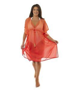 Valentina Ombre V-Neck Women's Maxi Kaftan Beach Dress (Orange, Two Size)
