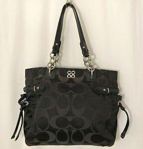 Coach Handbag Black with Silver Hardware Serial Number J1026-16435 Logo C