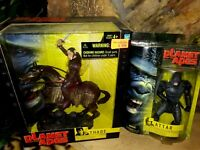 THADE AND ATTAR, HASBRO PLANET OF THE APES ACTION FIGURES, 2001, NEW MIB, MOC