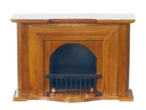 Dolls House Walnut Wooden Georgian Fireplace Miniature Living Room Furniture