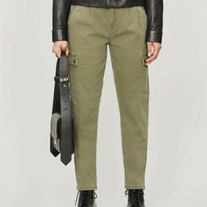 Noisy May Bronx mid-rise stretch-cottonTROUSERS OLIVE NIGHT Size Small