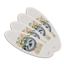 Happy Sloth Flowers in Hair Double-Sided Oval Nail File Emery Board Set 4 Pack
